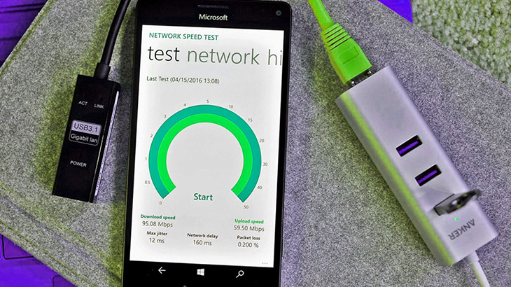 Ethernet support on Windows 10 Mobile for zippy network speeds