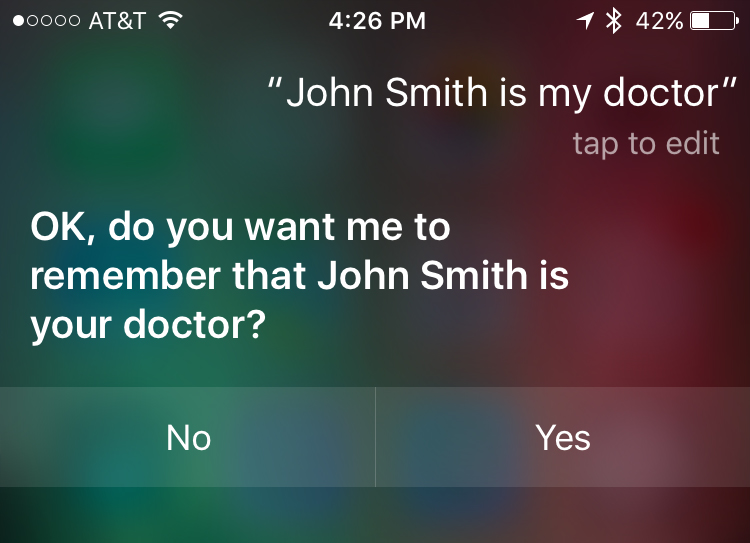 Assign relationship in Siri