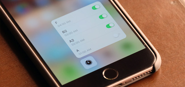 Control Center 3D Touch