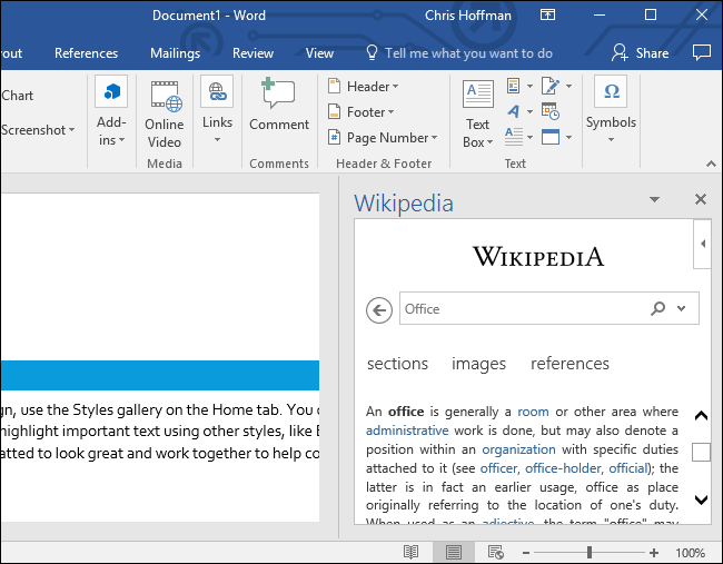 Add-in at side of the doc in Word