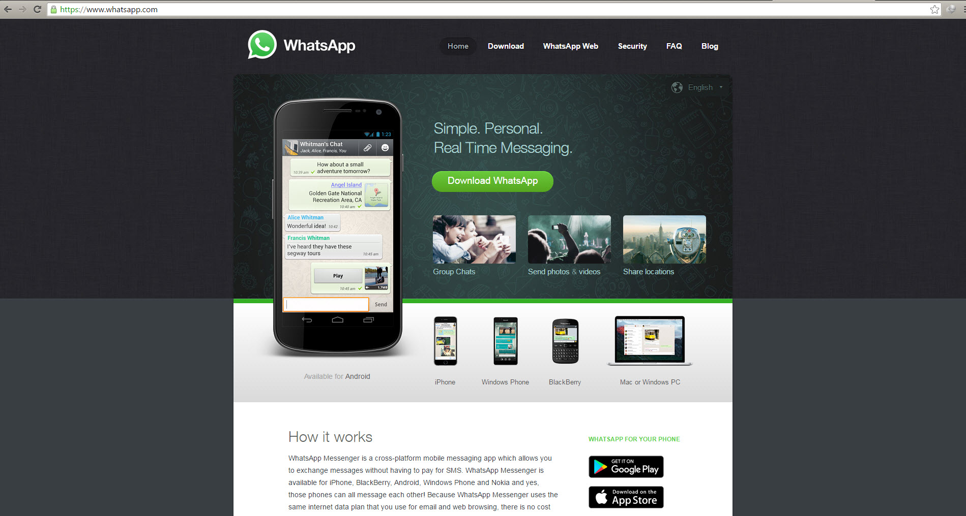 Navigate to official site of WhatsApp