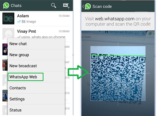 Scan QR code on WhatsApp