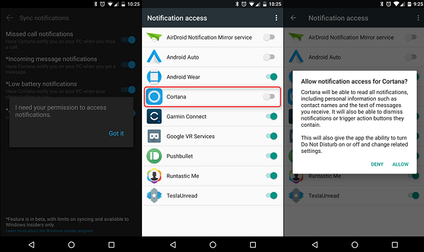 Allow notifications access