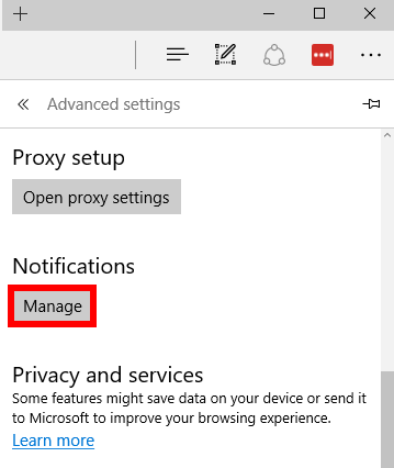 Disable web notifications in Edge