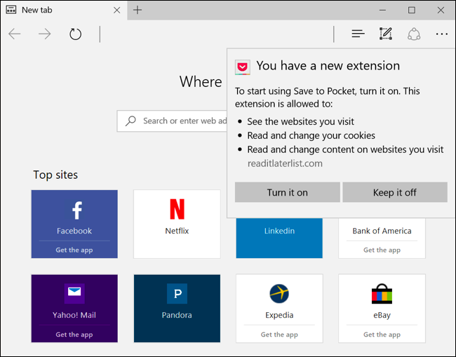 Enable new extension in Microsoft Edge