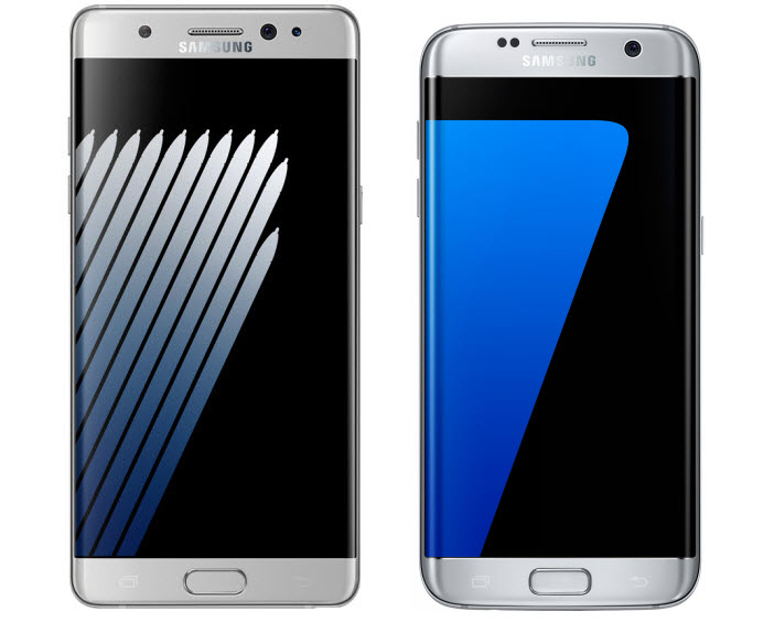 Galaxy Note 7 Vs Galaxy S7 Edge - curved edges