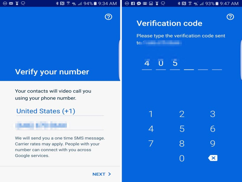 Google Duo - verify your phone number