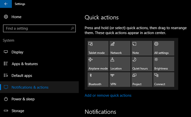 Quick Action tiles in Windows 10