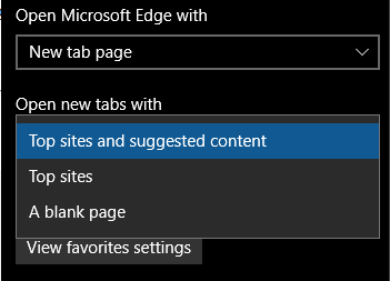 Set homepage in Edge