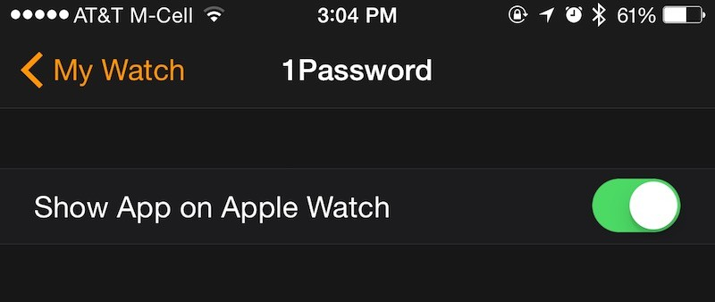 Show app on Apple Watch