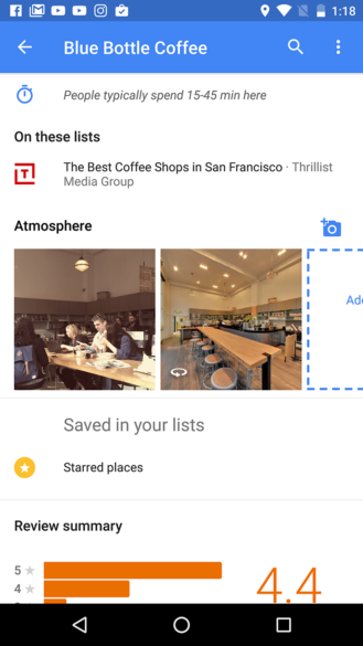 Google Maps Beta adds parking info and Atmosphere images