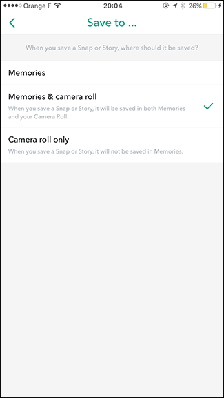 Automatically save Snapchat to memories and camera roll