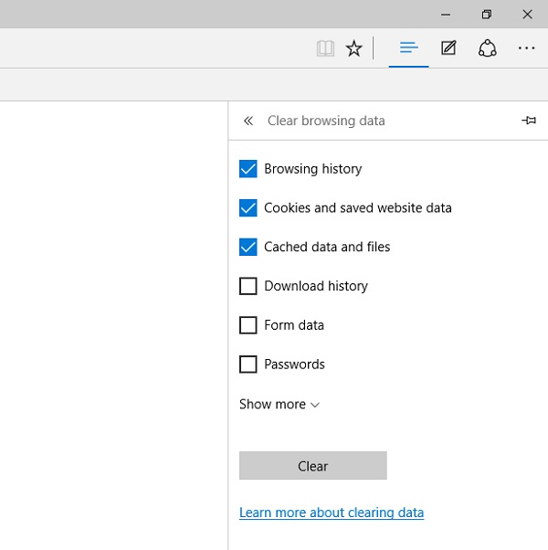 Deleting browsing data components in Microsoft Edge