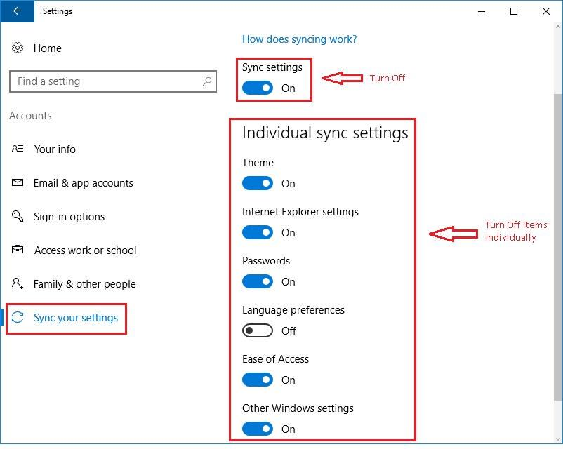 Disable Windows 10 Sync