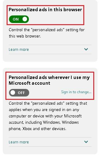 Opt out of personalized ads