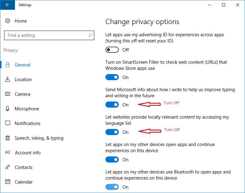 Manage Privacy options