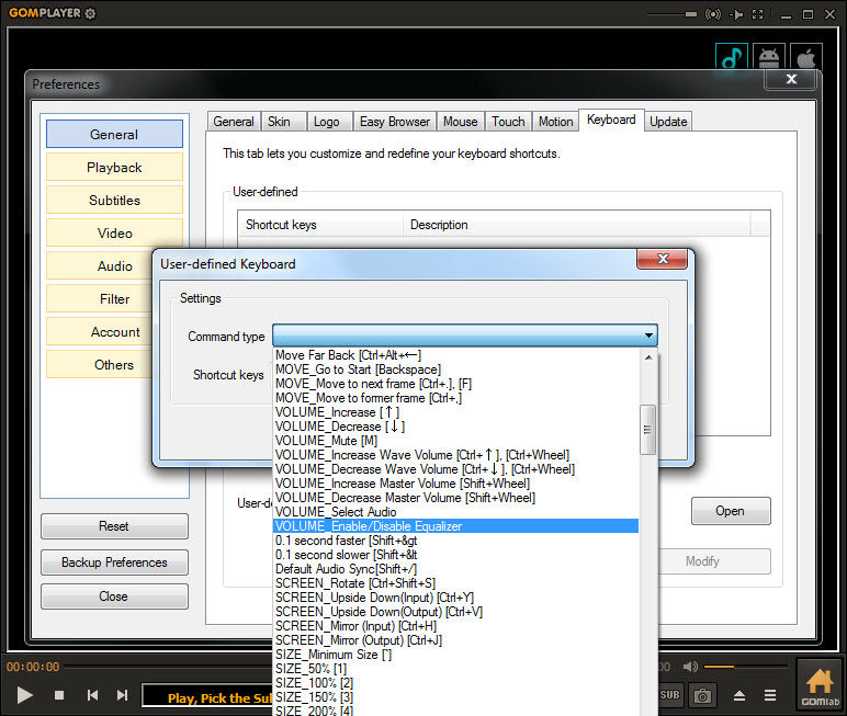 all keyboard shortcuts for GOM Player
