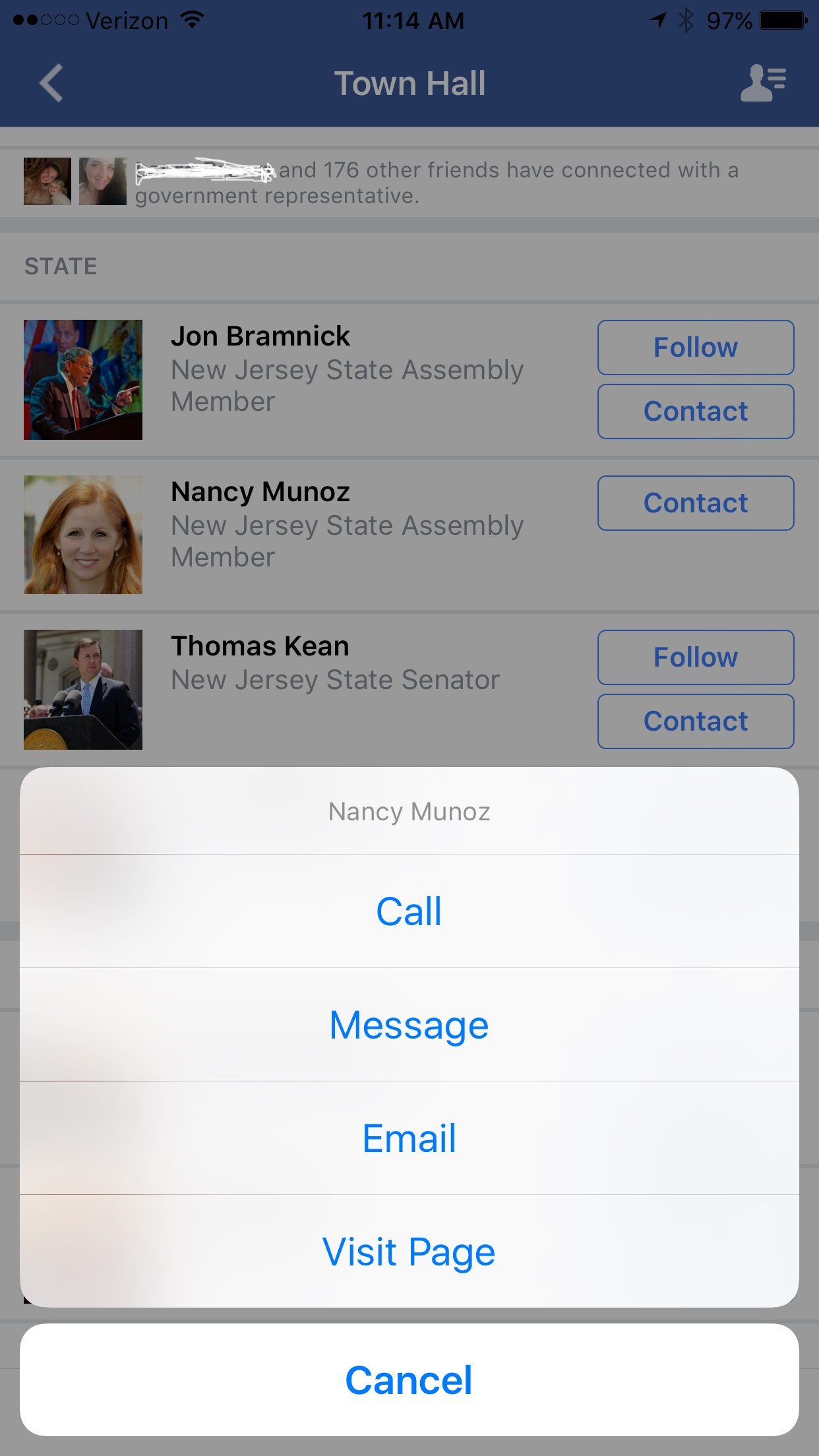 Facebook Town Hall feature-Contact