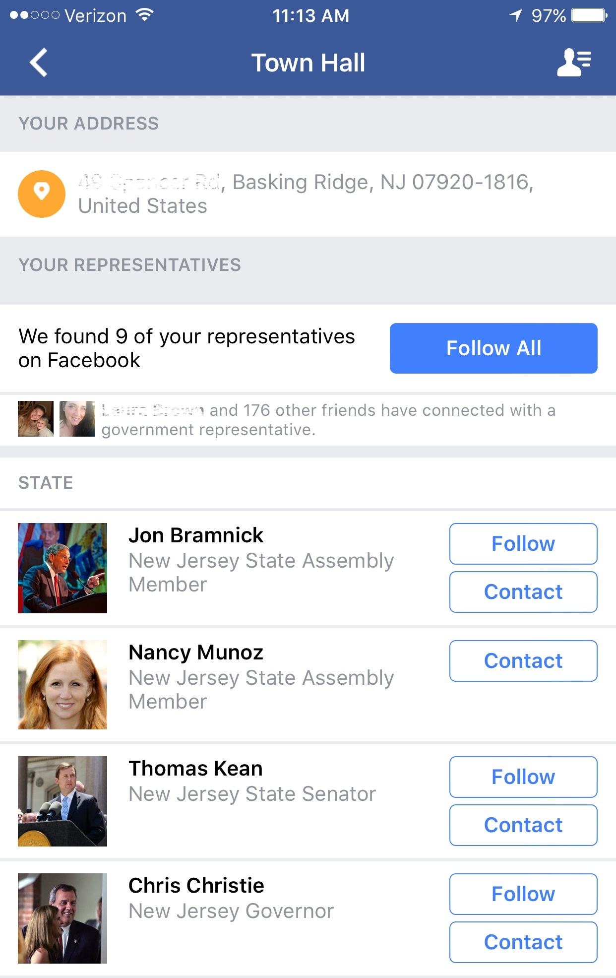 Facebook Town Hall feature-find-representatives