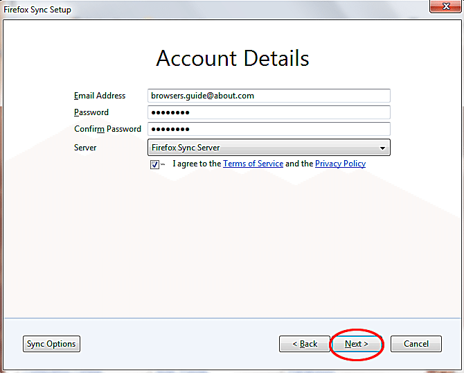 Set-Up-Firefox-Sync-Between-Windows-and-iPad-Account-details