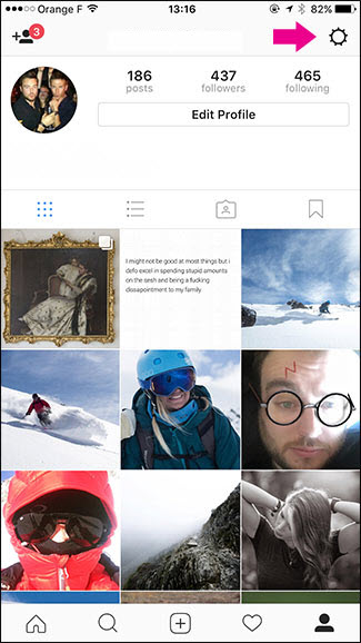 Click on the Settings icon in your Instagram account