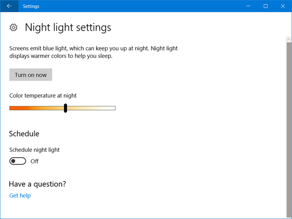 Enable Night Light - set a color temperature