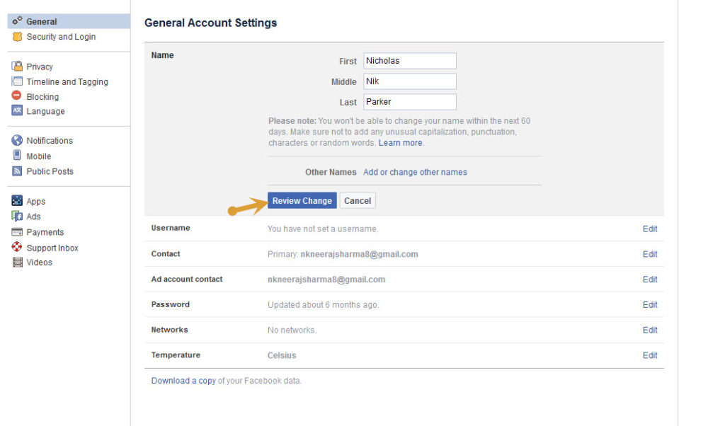 Enter new Facebook username and then click on Review Change option
