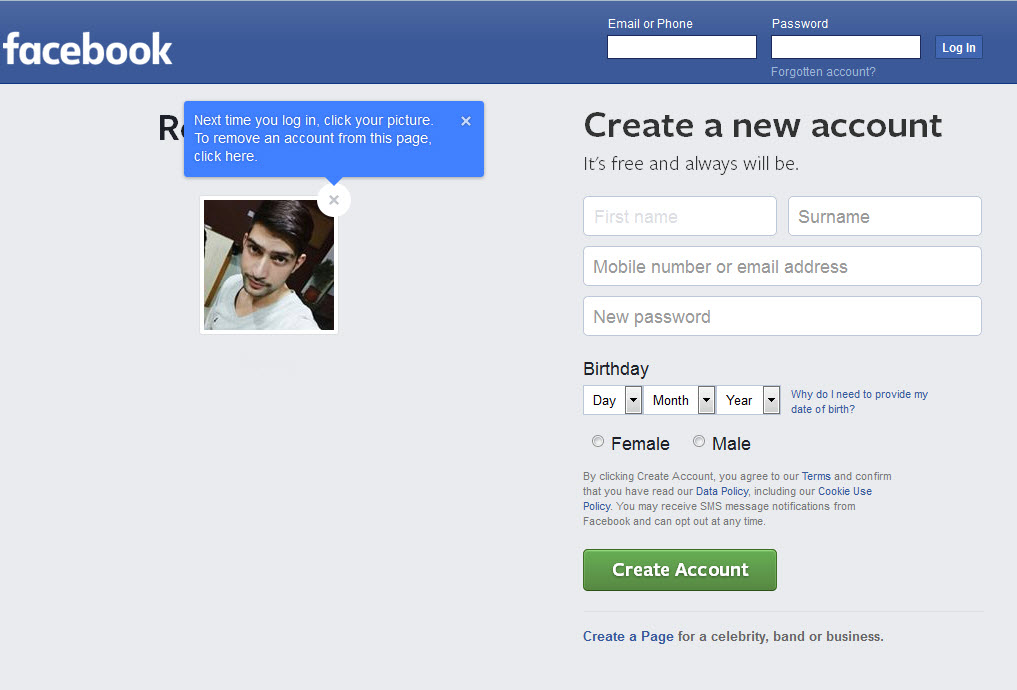 Log into your Facebook account