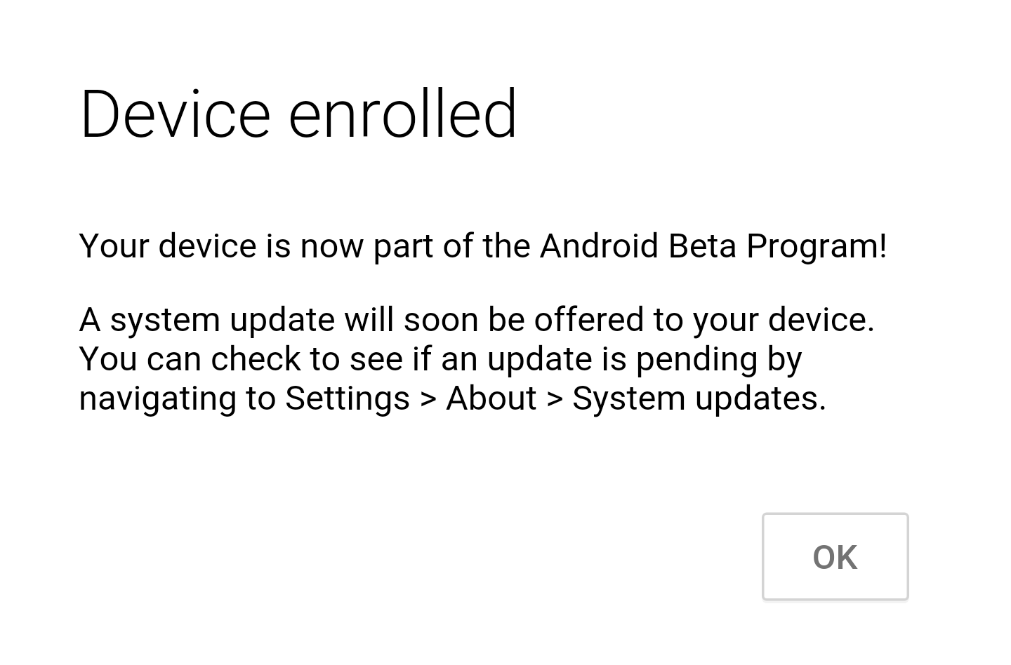 Download Android O Public Beta - Ok button
