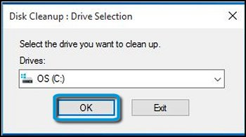 Free Up Storage Space on Windows - Drive selection
