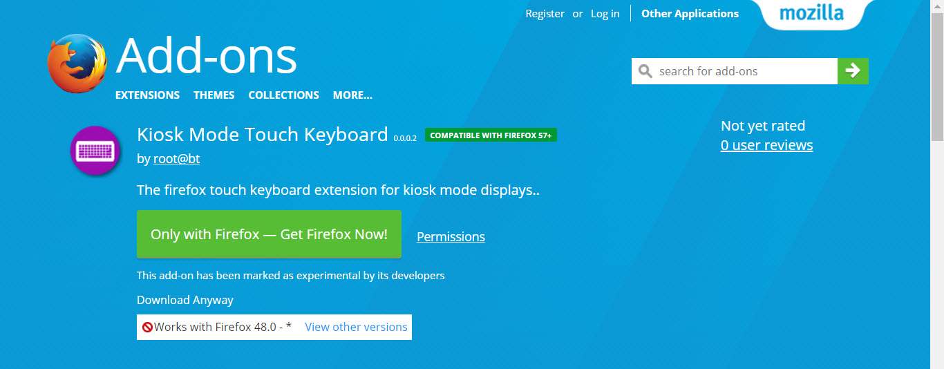 Newest Firefox Extensions - Kiosk Mode Touch Keyboard
