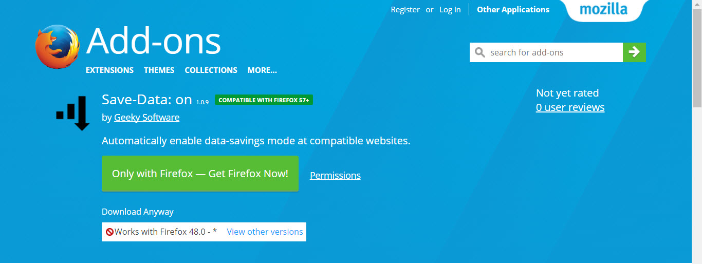 Newest Firefox Extensions - Save-Data: On