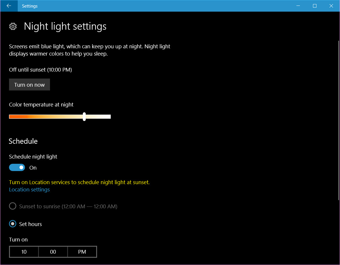 PC Tricks and Hacks - Enable Night Light Feature in Windows 10