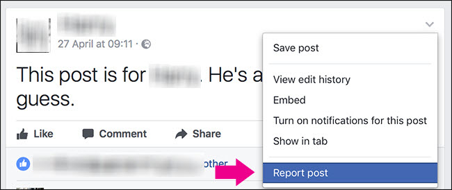 Report a Post on Facebook - Report Post