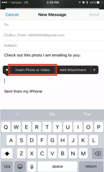 long press email message to attach a photo to an email in iOS