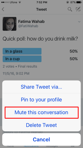 How to Mute a Twitter Conversation on Mobile - Mute this conversation