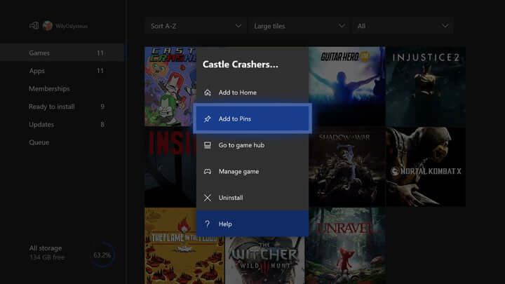 Pin Apps and Games on Xbox-Pin Apps and Games