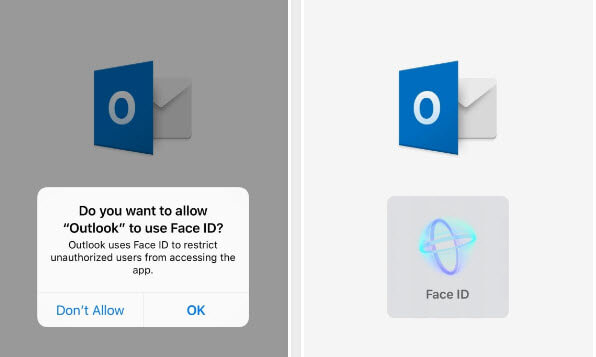 Protect Emails on iPhone-allow Outlook to use Face ID