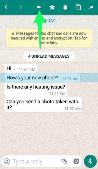 Quote Messages on WhatsApp for Android - Reply Icon