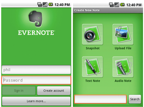Useful Apps for Android-Evernote