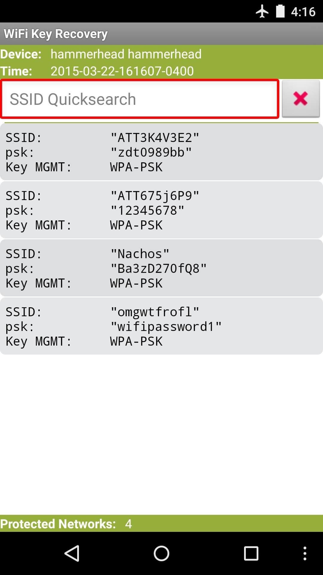 View Saved WiFi Passwords-SSID Quicksearch