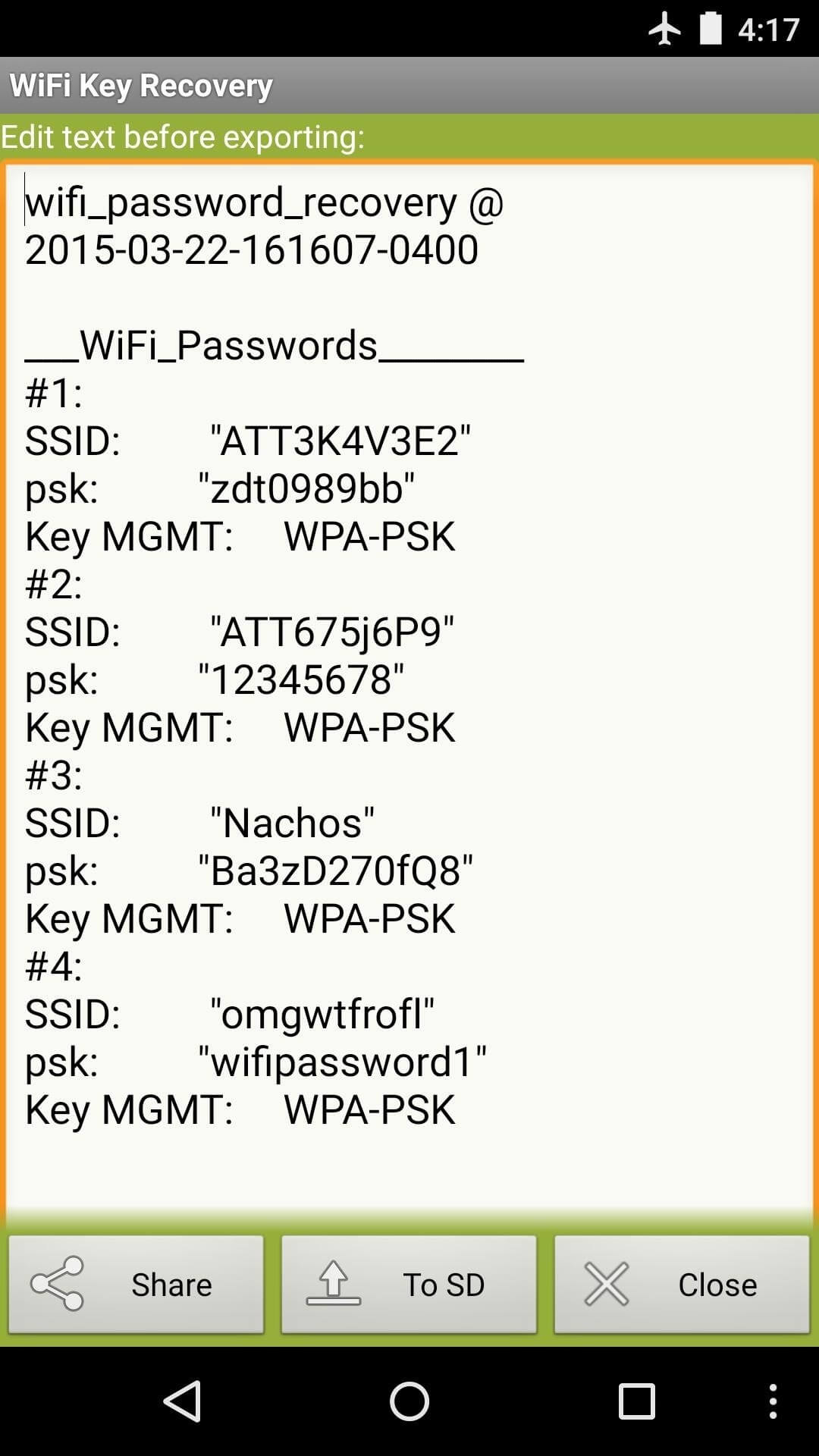 View Saved WiFi Passwords-choose share or to SD