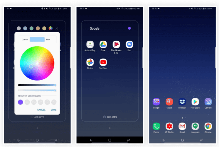 Features in Galaxy S8 Oreo Update - Custom Color Picker for Folders