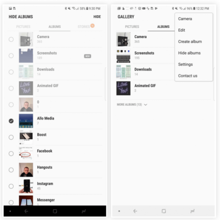 Features in Galaxy S8 Oreo Update - Hide Albums in Gallery