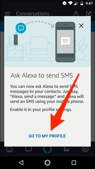 Send Text Messages with Alexa - Go to My Profile Option
