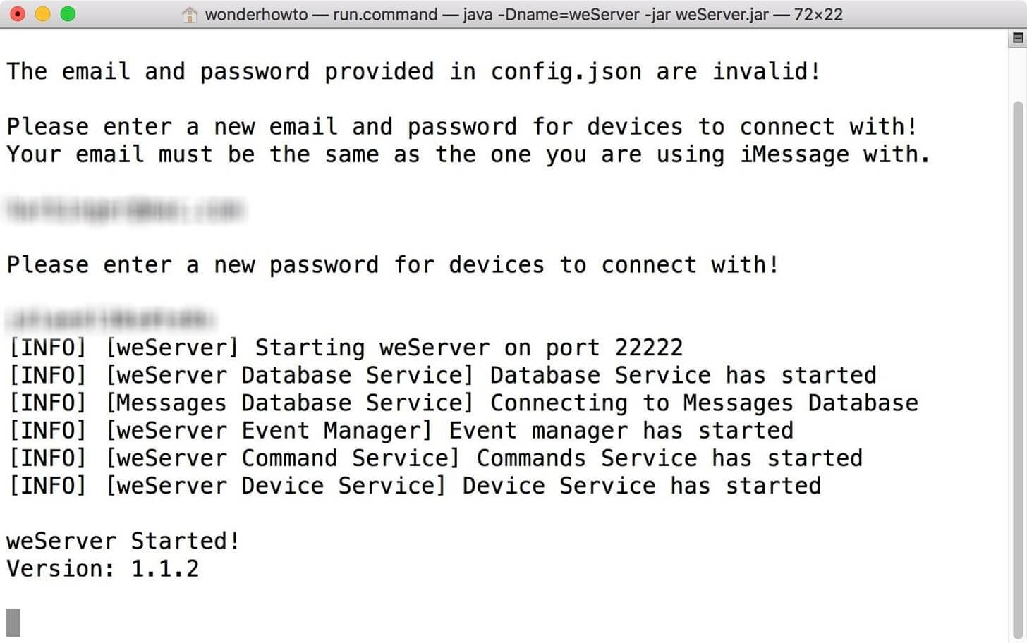 Send and Receive iMessages-Set up iMessage Account with weServer