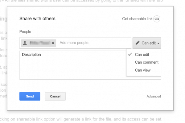 Share Files from Google Drive-Choose Privilage
