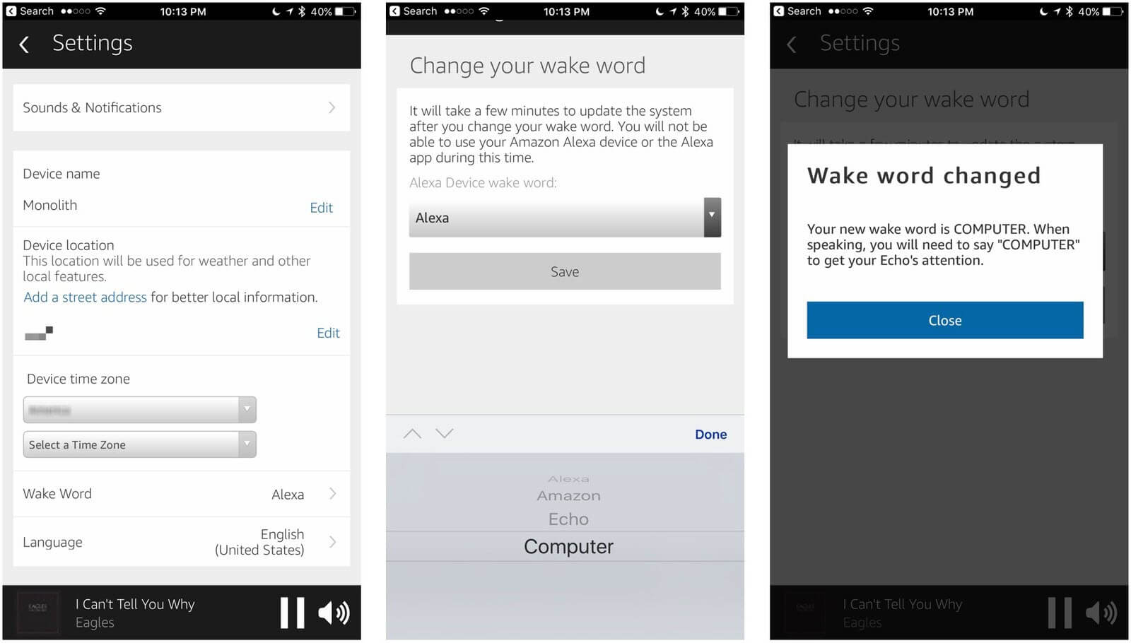 Amazon Echo Privacy-Change the Wake Command