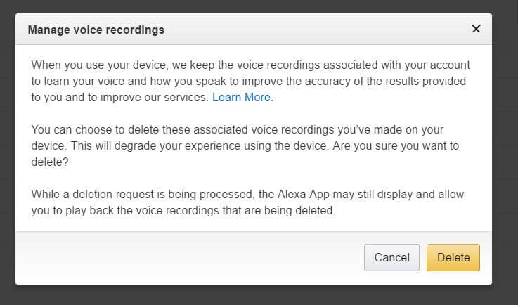 Amazon Echo Privacy-Remove Voice Data