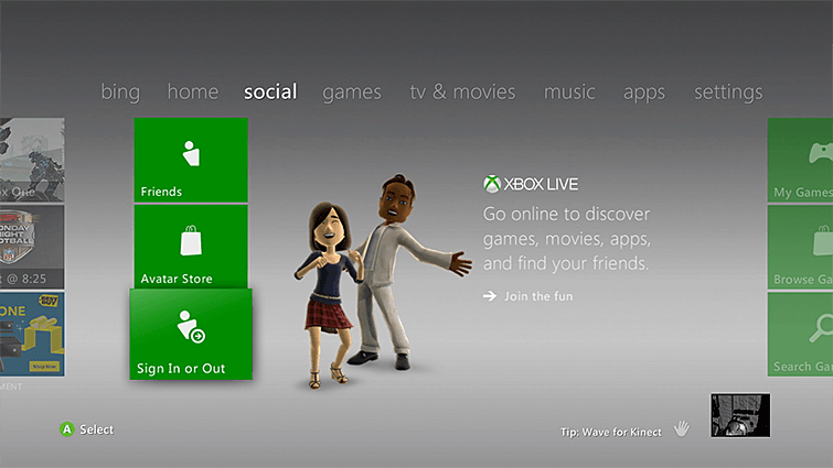 Change Xbox Live Gamertag-Use Xbox 360-Go to Sign In or Out